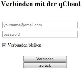 QCloud Connect Screen